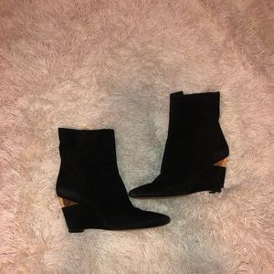 Michael Kors Black Suede Wedge with Gold Hardware